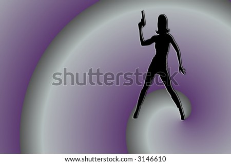 Silhouette Of Woman With Gun On Purple Swirl Background