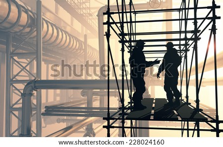 Silhouette of worker at the plant. - stock photo