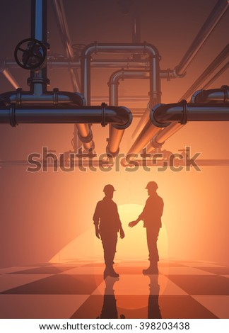 Silhouette of worker at the plant. 3D rendering - stock photo