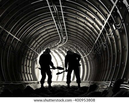 Silhouette of workers in mine, 3d render - stock photo