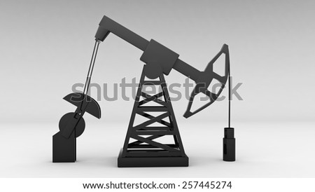 silhouette of working oil pump on white background   for use in presentations, education manuals, design, etc. - stock photo