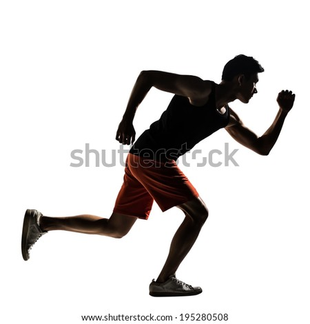 Silhouette of young Asian athlete running, full length portrait isolated on white.