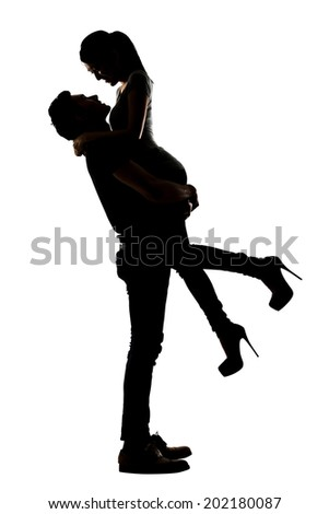 Silhouette of young Asian couple, full length portrait isolated on white background.