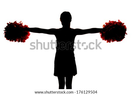 Silhouette of young cheerleader pompoms straight out
