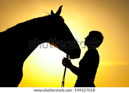 Silhouette of young girl and horse on sunset - stock photo