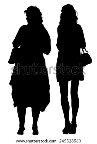 Silhouette of young girls on white background - stock photo