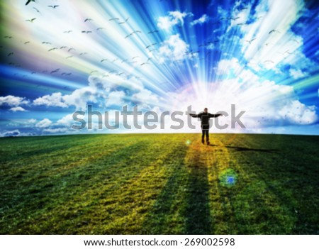 Silhouette of young man walking with hands open on green field under sunset skies and bird flying above ,freedom , success and freedom concept - stock photo