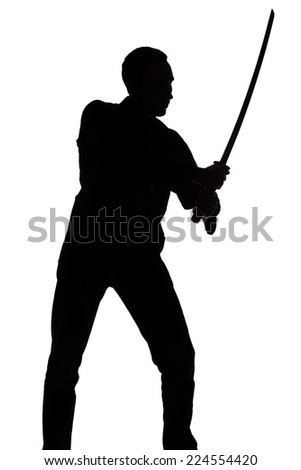 Silhouette of young man with sword on white background