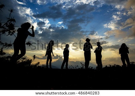 silhouette of young people at outdoors