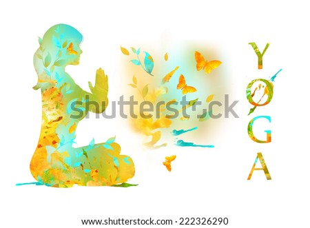 Silhouette of Young Woman Practicing Yoga In the Lotus Position, her Hands in Namaste prayer mudra. Illustration from watercolor stains  isolated on a white background. Healthy Lifestyle Concept - stock photo