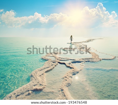 Silhouette of young woman walking on Dead Sea salt shore at sunrise towards the sun - stock photo