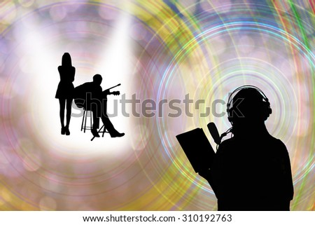 silhouette or shadow of  concept background for singing learning course or folk song music contest