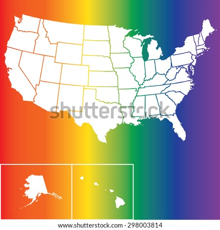 Silhouette outline map of the United States of America