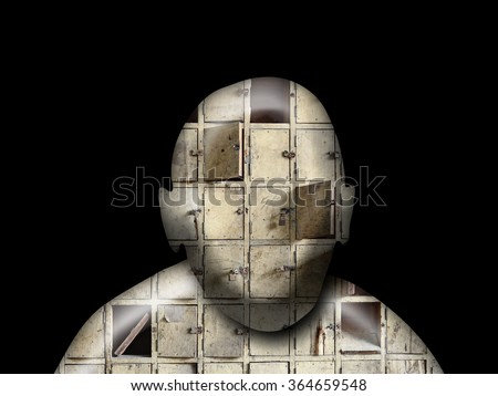 Silhouette outline of a man's face with facade of a pigeon hole cabinet closets for the concept of too many secrets. - stock photo