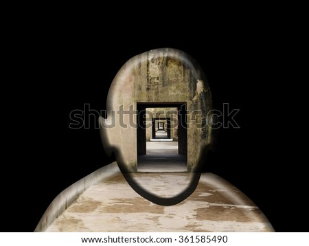 Silhouette outline of a man's head with an endless corridor for the concept of paranoia.  - stock photo