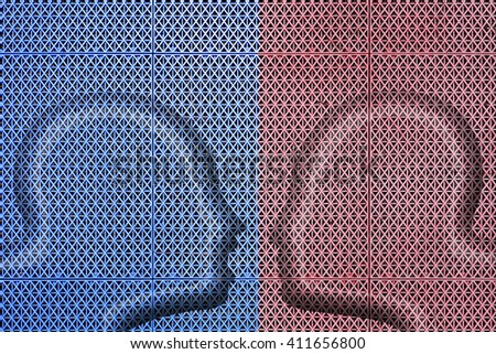 Silhouette outline of two man's head in plastic mesh confronting each other.  - stock photo