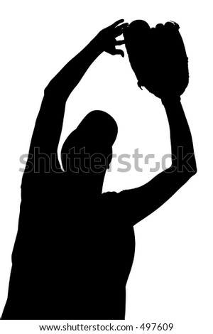 Silhouette over white with clipping path.  Female Softball Player.