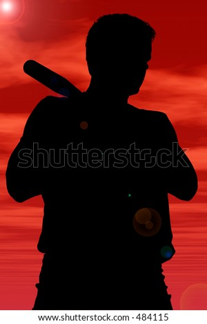 Silhouette over white with clipping path. Man With Baseball Bat. - stock photo