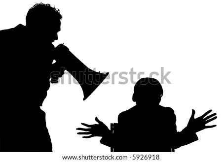Silhouette over white with clipping path. Man with megahorn / bullhorn yelling at woman. - stock photo
