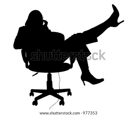 Silhouette over white with clipping path. Office woman on chair with phone.