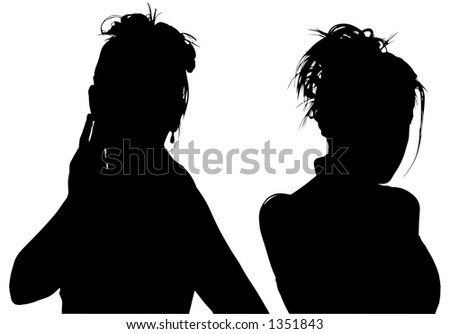 Silhouette over white with clipping path. Two women.