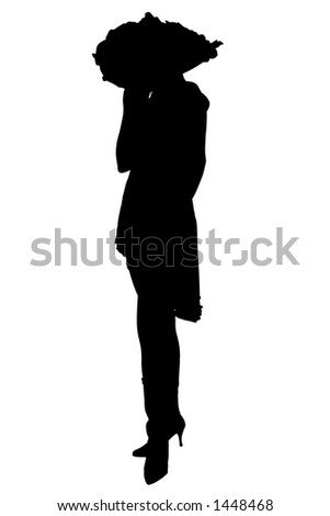 Silhouette over white with clipping path. Woman in large hat.