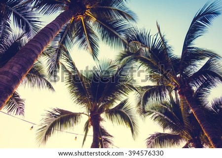 Silhouette palm tree on the beach and sea around beautiful luxury swimming pool in sunset - Vintage Filter and Boost up color Processing - stock photo