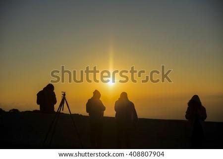 silhouette people activity on sunrise - stock photo