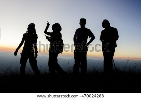 silhouette people group