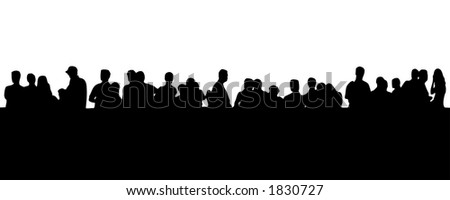 silhouette - people in line - stock photo