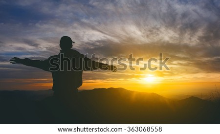 silhouette people with sky and sunset  landscape