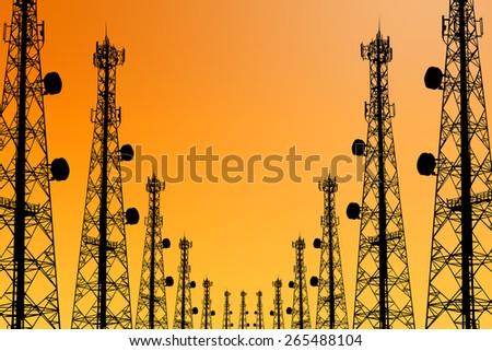 Silhouette phone antenna - stock photo