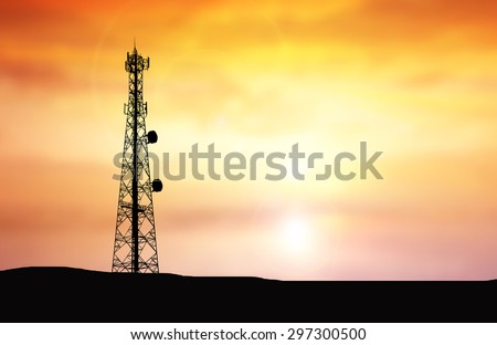 Silhouette phone antenna.Sunset background - stock photo