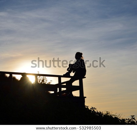 silhouette photo of a girl on the rail edge
