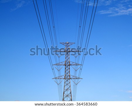 Silhouette power pole Sky background