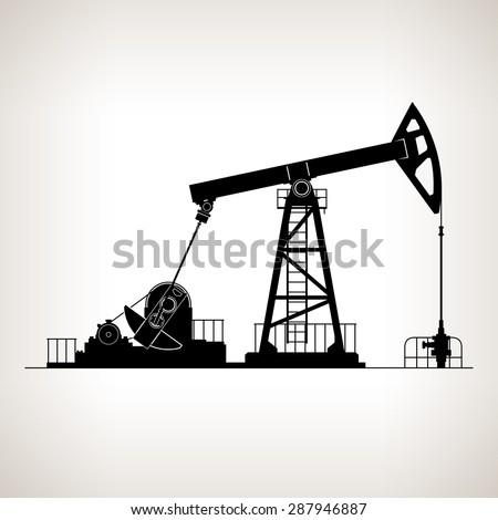 Silhouette Pumpjack or Oil Pump , also Called Oil Horse,  Pumping Unit,Gasshopper Pump, Big Texan, or Jack Pump, Overground Drive for a Reciprocating Piston Pump in an Oil Well