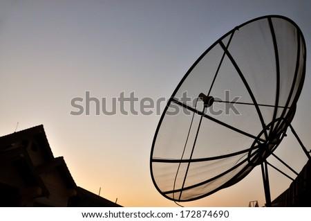 Silhouette satellite  - stock photo