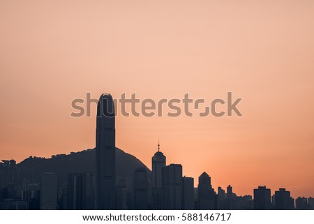 silhouette scene of city building in sunset evening time,skyline,cityscape