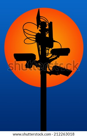 silhouette security camera - stock photo