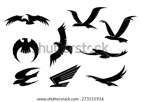 Silhouette Set Flying Eagles Hawks Falcons Stock ...