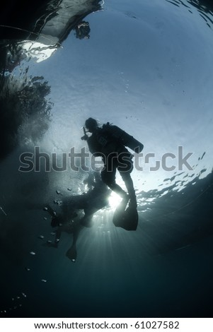 Silhouette shot of scuba divers and dive boats above on the surface. Red Sea, Egypt.