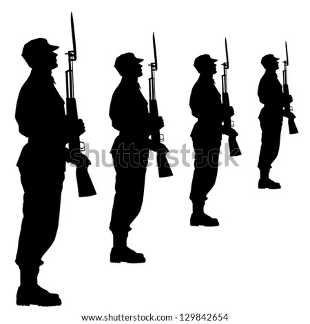 Silhouette soldiers during a military parade.  illustration. - stock photo