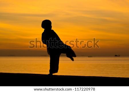 Silhouette taekwondo boy on the beach at dusk. - stock photo