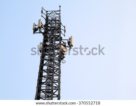 silhouette Telecommunication tower on sky background