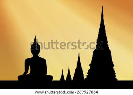 Silhouette temple sunset background. - stock photo
