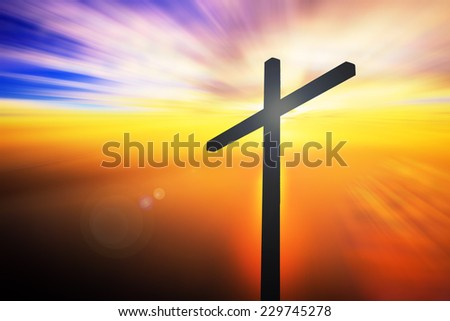 Silhouette the cross on the mountain golgotha representing the day of christ crucifixion in a sunset. Christmas, Thankful, Repentance, Reconcile, Adoration, Glorify, Evangelical, Hallelujah concept  - stock photo