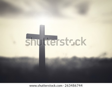 Silhouette the cross over blurred sunset background. Good Friday, Easter Sunday, He Is Risen, Holy Week concept. - stock photo