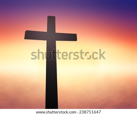 Silhouette the cross over blurred sunset background. Merry Christmas Card, Thankful, Repentance, Reconcile, Adoration, Glorify, Peace, Evangelical, Hallelujah concept