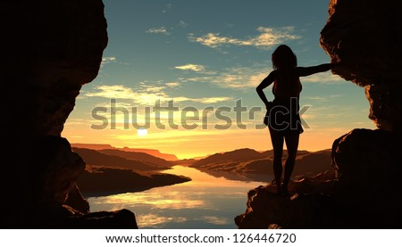 Silhouette the woman in the cave. - stock photo