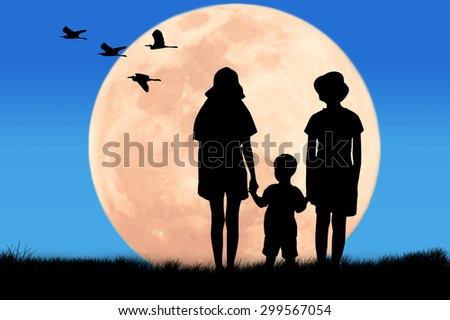 silhouette Three brothers looking egret bird at the full moon night background
